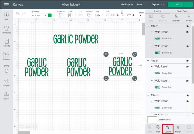 aligning text in cricut design space