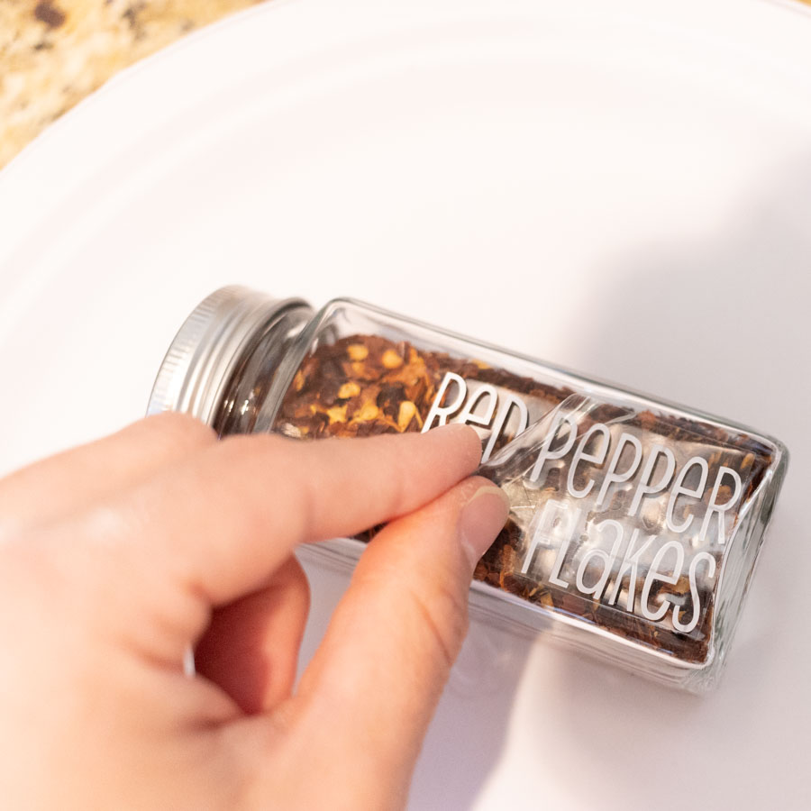 removing transfer tape from spice jar