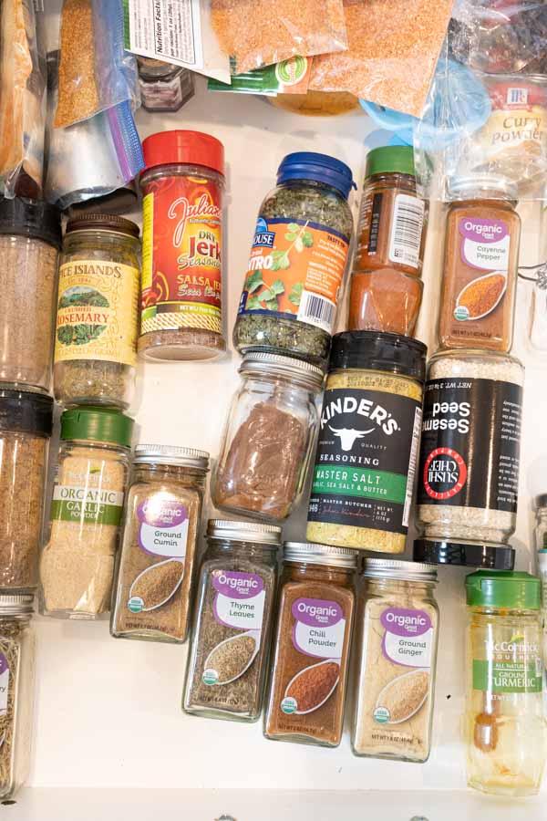 spice jar drawer before