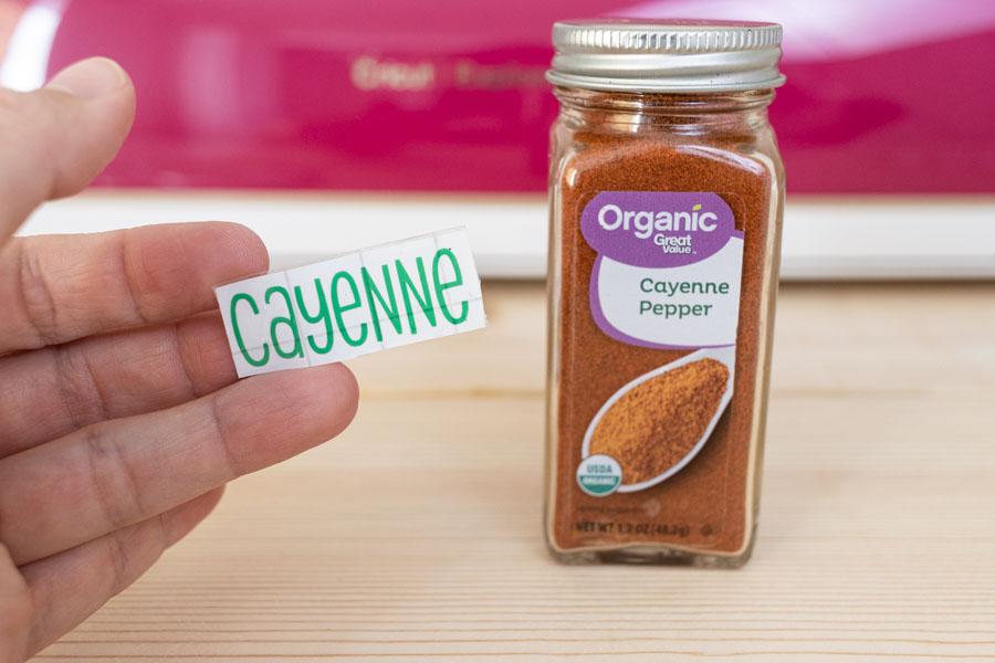 cayenne vinyl label and spice jar