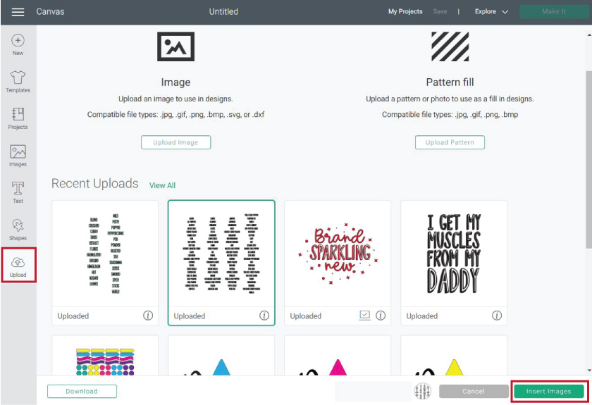 uploading files in cricut design space