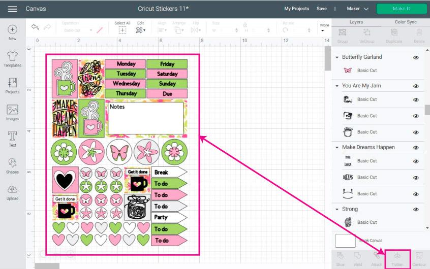 Cricut Design Space Screenshot:  Flatten all elements before cutting the stickers
