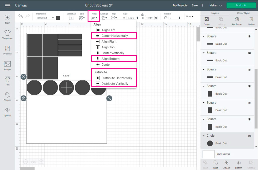 Cricut Design Space Screenshot:  align stickers so they are in order