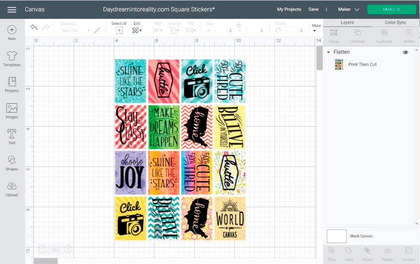 Using patterns and images ONLY in Cricut Design Space for making stickers example.