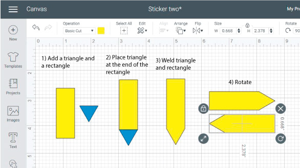 Cricut Design Space Screenshot: step by step on how to add different elements to the Cricut sheet