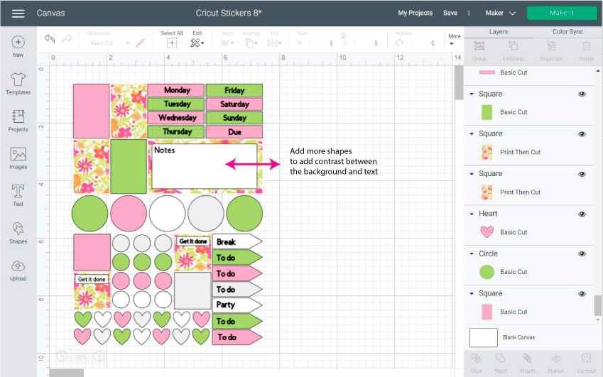 Cricut Design Space Screenshot:  place text on your stickers and add mores shapes for contrast