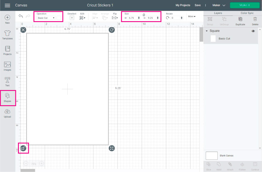 Cricut Design Space Screenshot: Add a rectangle to create a guideline for your sticker sheet