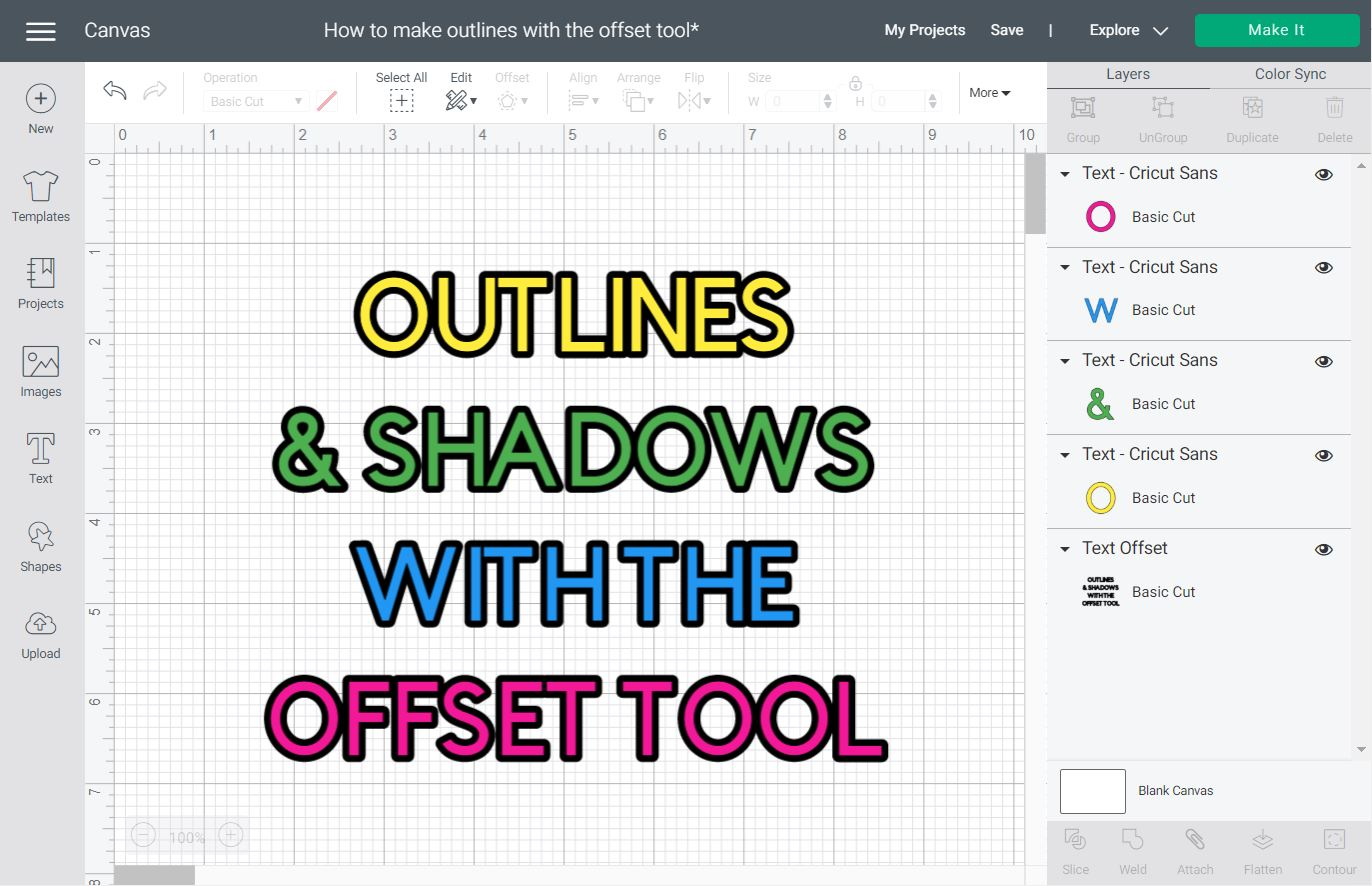 featured image for making outlines with the offset tool in Cricut Design Space.