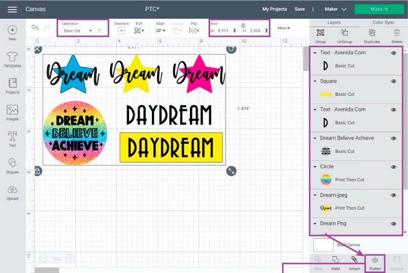 Flatten all elements you want to cut on Cricut Design Space before Printing and Cutting.