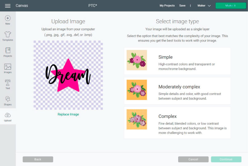 How a PNG Image looks when uploaded to Cricut Design Space