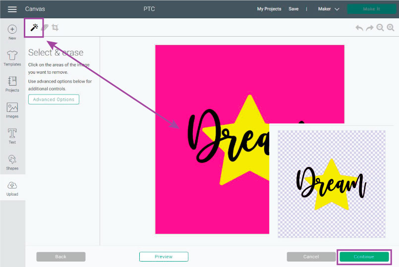 Delete image background in Design Space