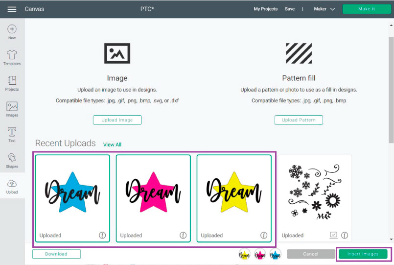 Inserting JPG, PNG and SVG files inside the Design Space Canvas Area