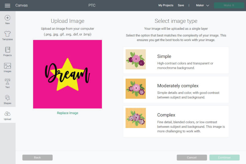 How a JPG Image looks when uploaded to Cricut Design Space