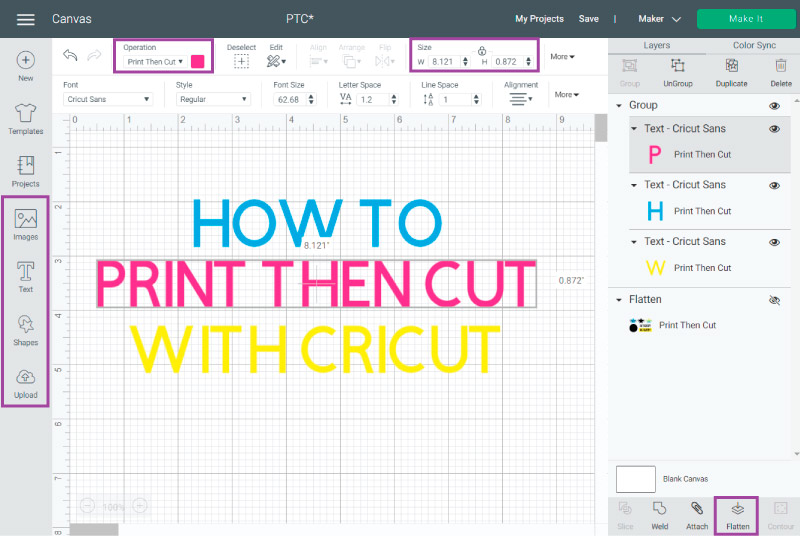 Cricut Design Space Canvas - Tools that are required for Print then Cut