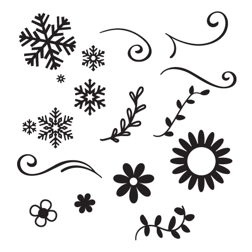 Snowflakes and floral designs FREE SVG