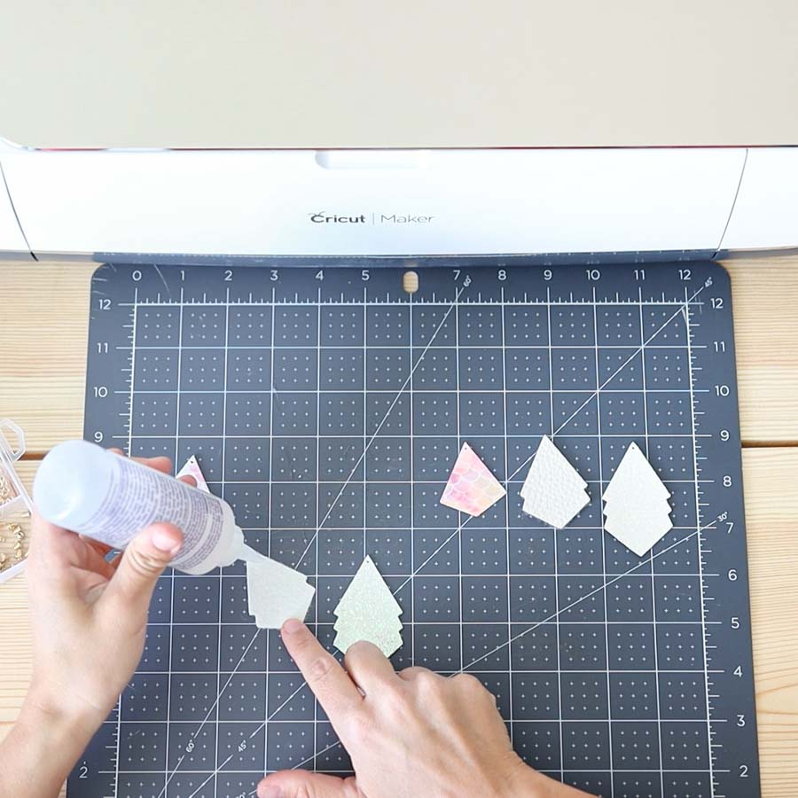 using fabric tac to clue earrings