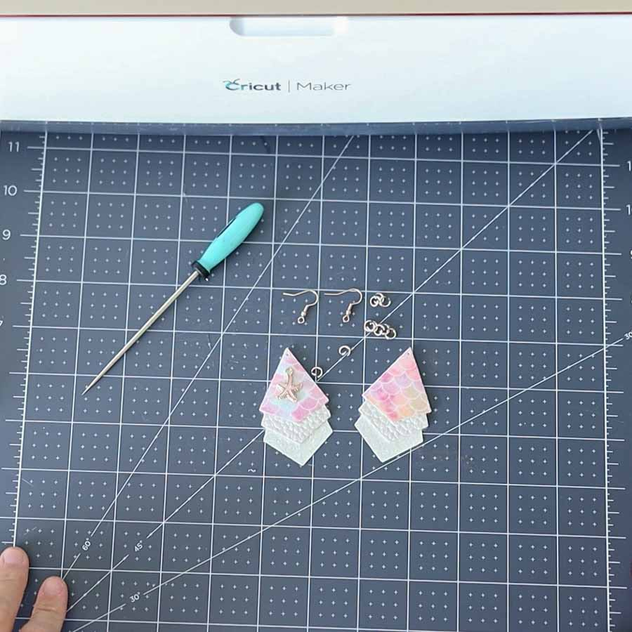 assemble an earring with jump rings and fish hooks