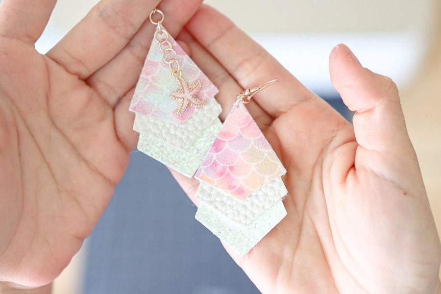mermaid earrings made with cricut