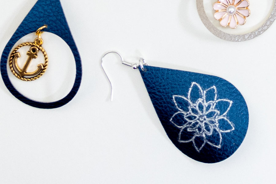 earring made with cricut and foil transfer kit