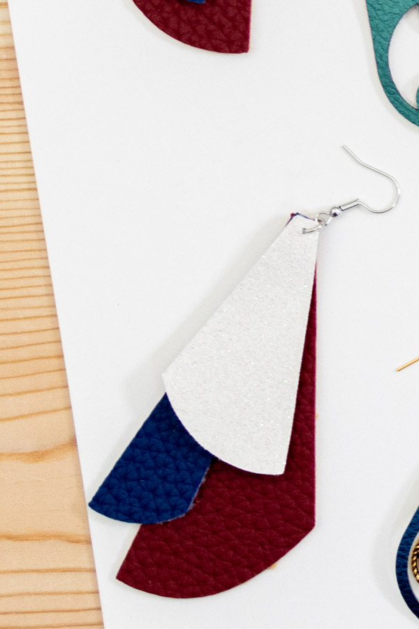 triangle earring made with cricut
