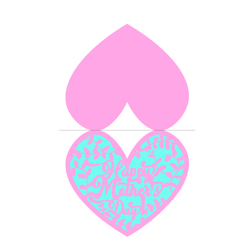 happy mother's day card (heart shape) free svg template