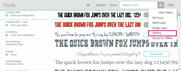 Screenshot Design Space: choosing writing fonts.