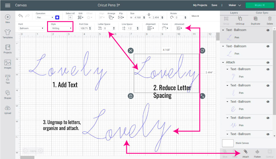 Screenshot Design Space: Fixing cursive fonts to use with Cricut Pens.