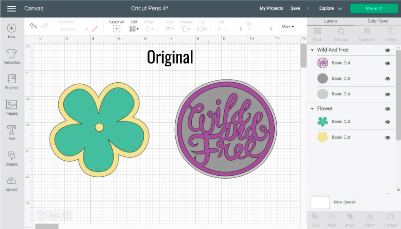 Screenshot Design Space: Using Cricut Pens with multi layer images. More examples.
