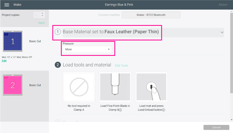 settings for cutting faux leather in cricut design space.