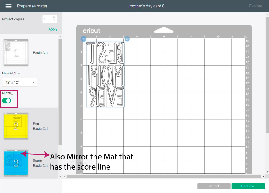 mat preview in cricut design space