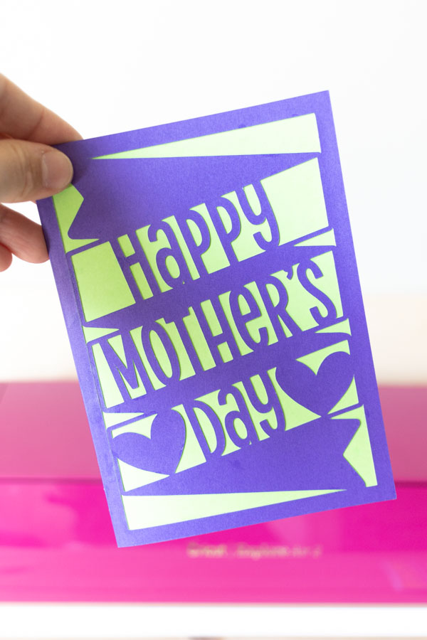 happy mother's day card (purple and green) made with cricut