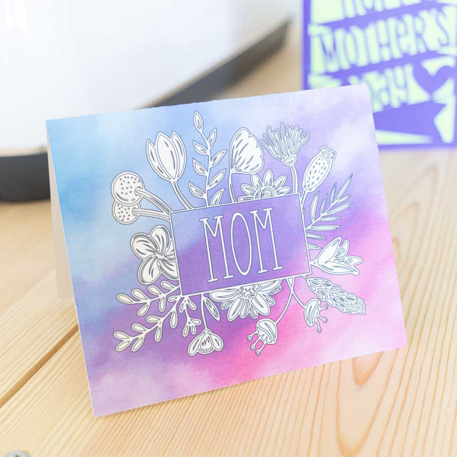 floral watercolor card made with Cricut for mother's day.