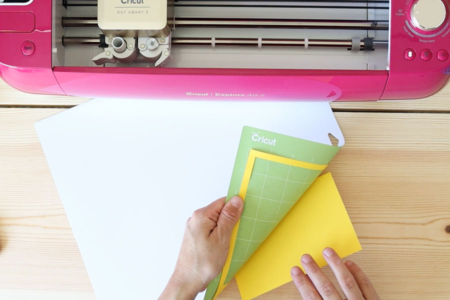 removing yellow cardstock from green mat