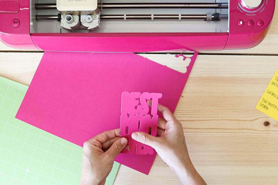 cutting pink cardstock with cricut explore
