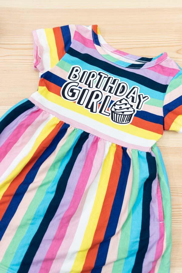 birthday girl iron-on design on rainbow dress