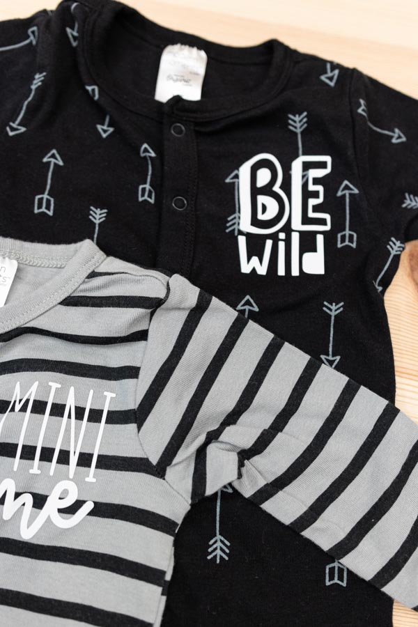 Be wild and Mini Me baby pajamas personalized with cricut