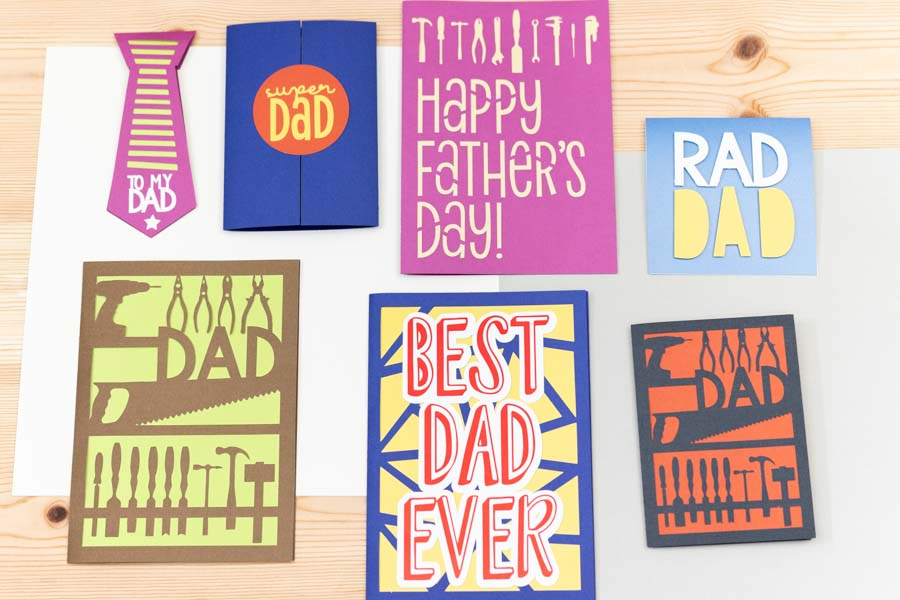assorted father's day made with cricut machine.