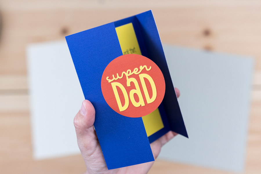 super dad card (blue, yellow and red).