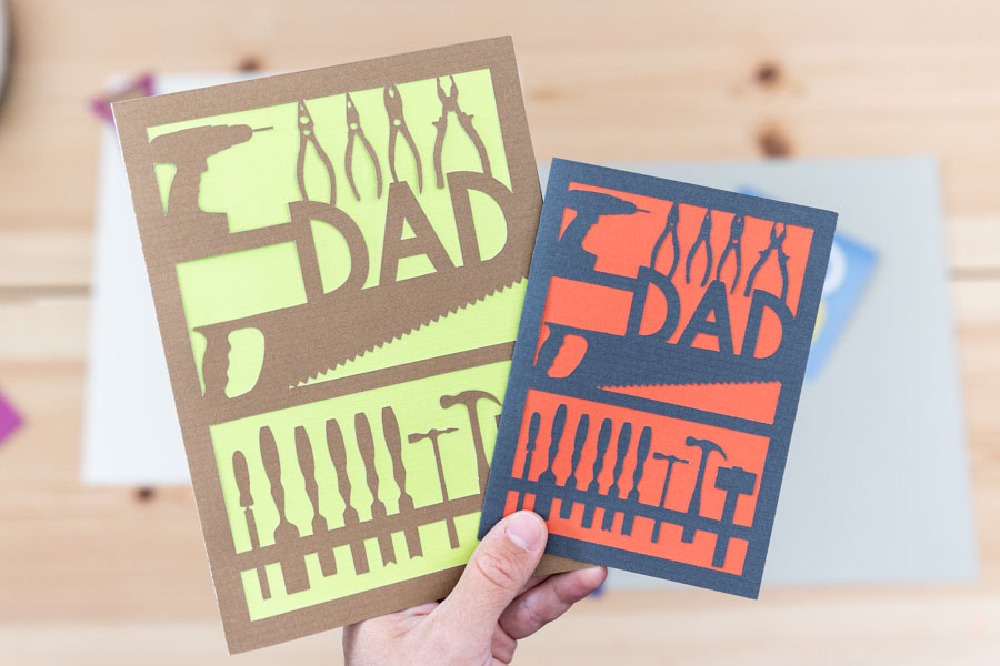 working tools dad card for fathers day. Drill, saw, hammer, wrench, etc.