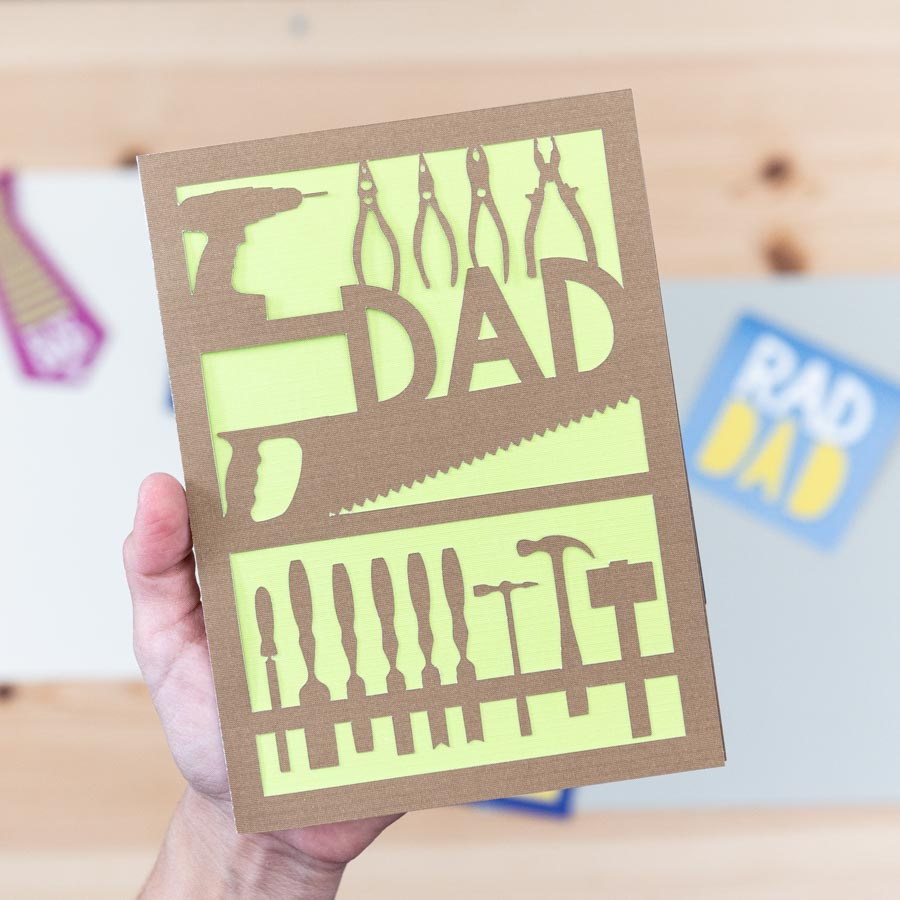 working tools dad card for fathers day (brown and green)