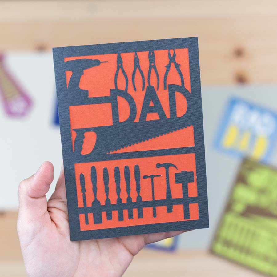 working tools dad card for fathers day (black and red)