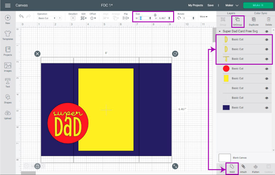 ungroup and resize project in Cricut Design Space.