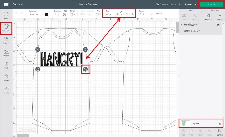 using templates to resize design for onesie in cricut design space.