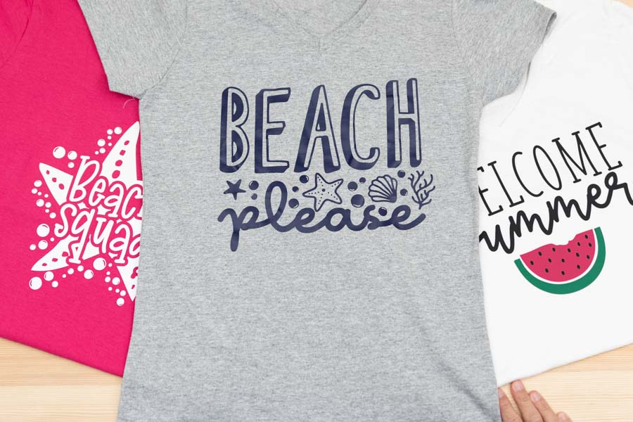 beach squad, beach please, and welcome summer t-shirts made with cricut
