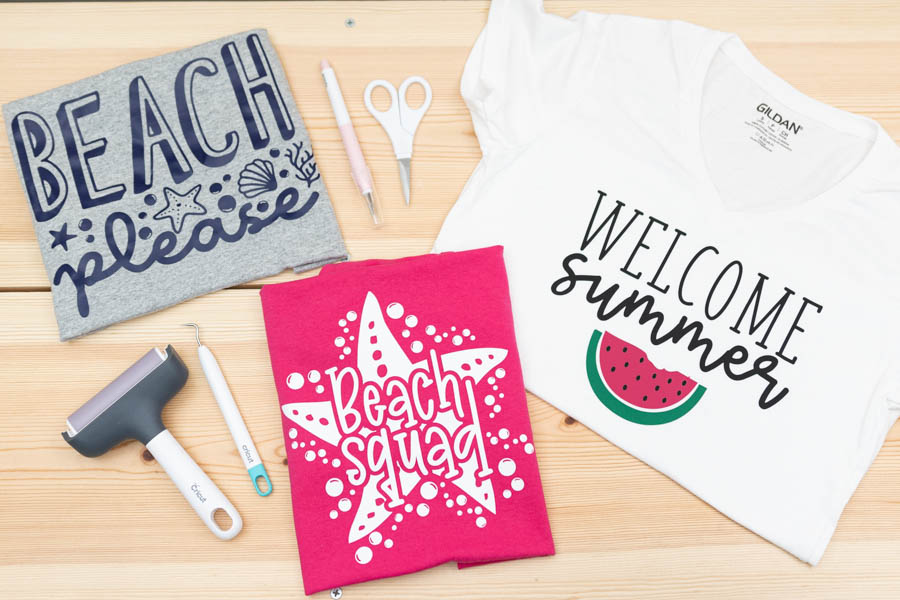 assorted summer t-shirts made with cricut