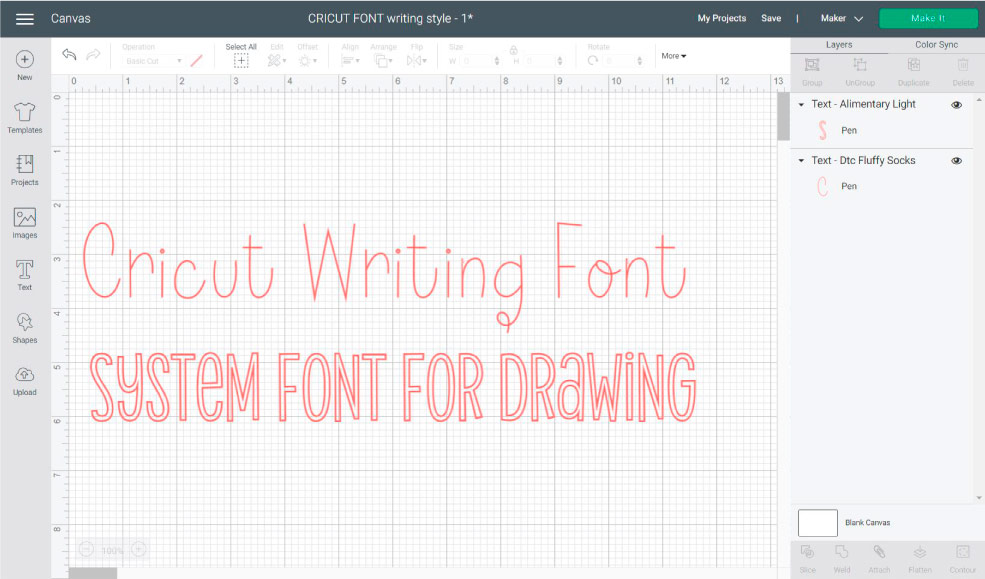 cricut writing font vs system font.