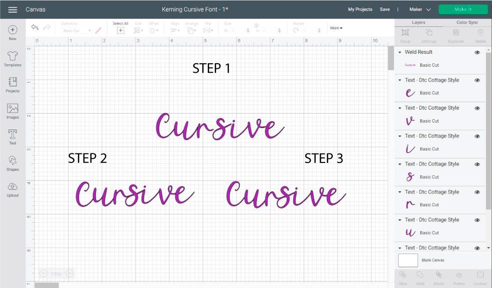 fixing cursive font in cricut design space