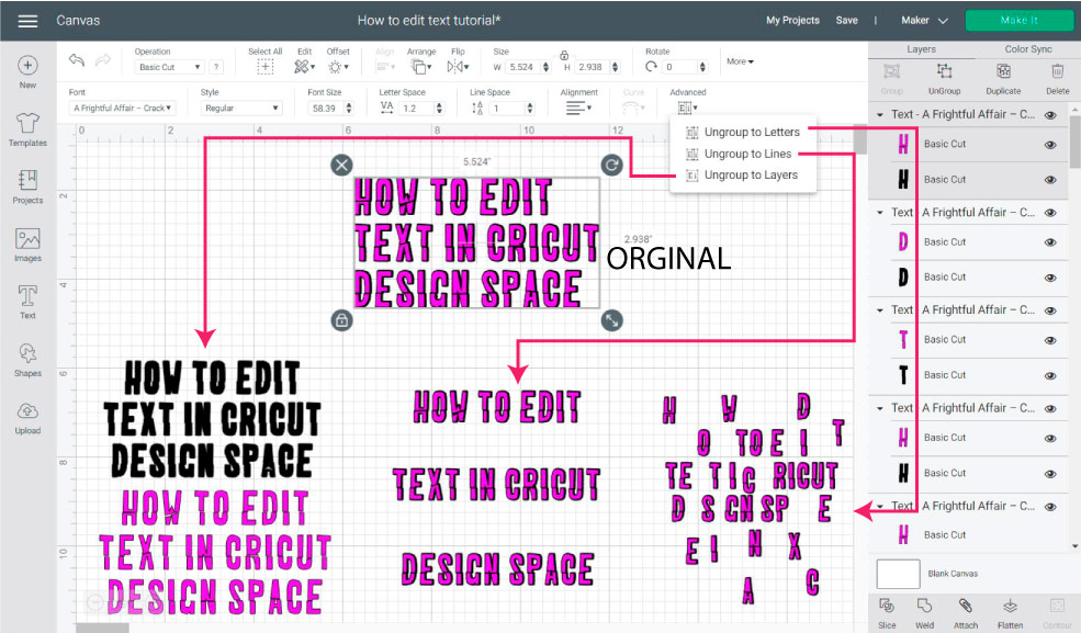 advance settings for text in cricut design space