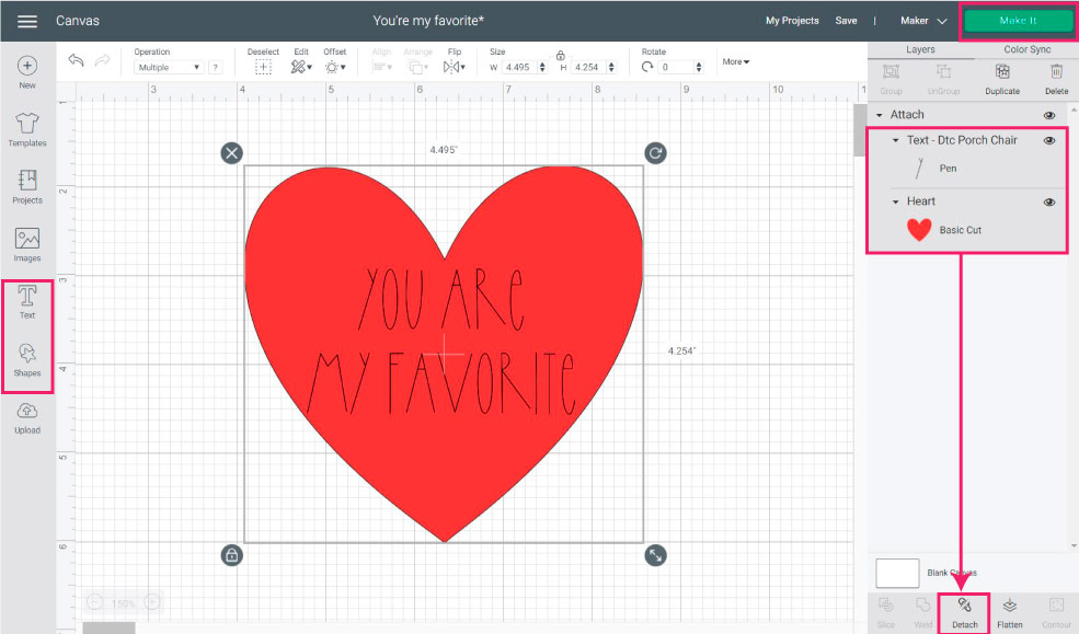 heart and text attached in design space.