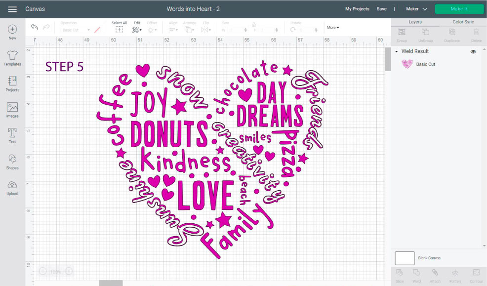 heart shaped design filled with meaningful words in Cricut Design Space.